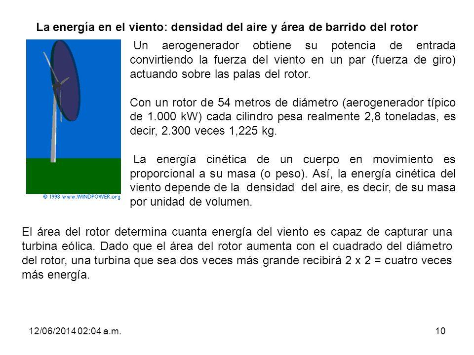 12/06/2014 02:06 a.m.10 La energía en el viento: densidad del aire y área de barrido del rotor Un aerogenerador obtiene su potencia de entrada convirt