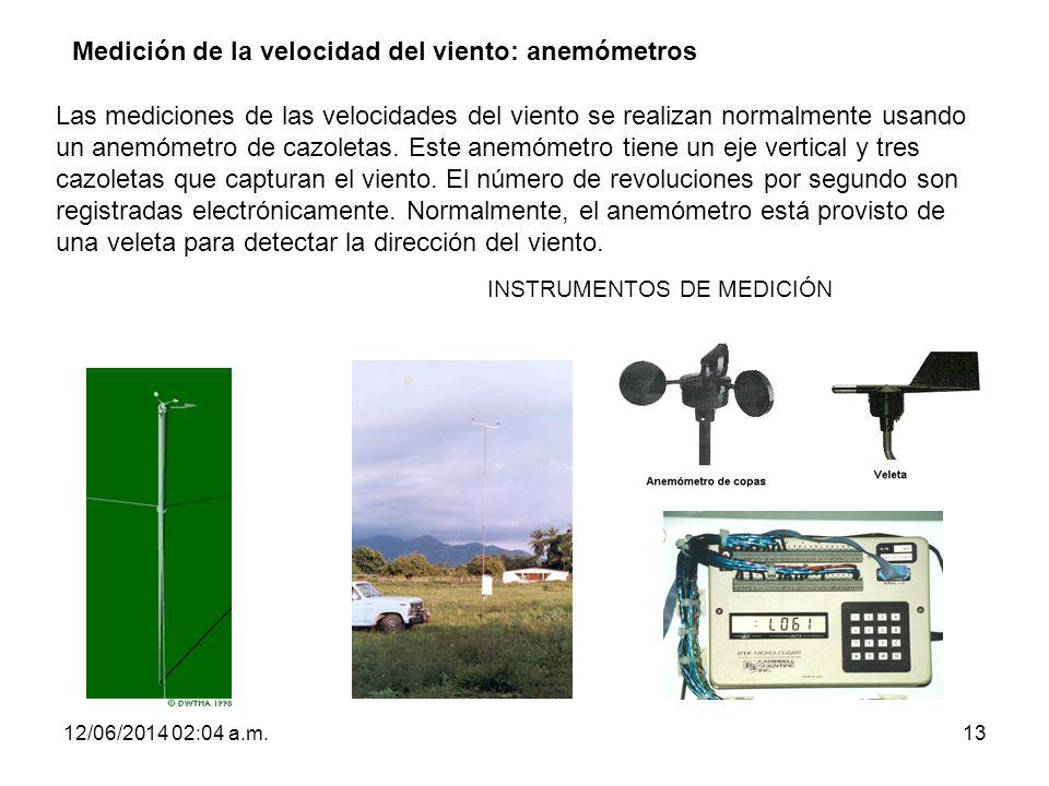 12/06/2014 02:06 a.m.13 INSTRUMENTOS DE MEDICIÓN Medición de la velocidad del viento: anemómetros Las mediciones de las velocidades del viento se real