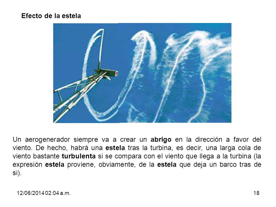12/06/2014 02:06 a.m.18 Efecto de la estela Un aerogenerador siempre va a crear un abrigo en la dirección a favor del viento. De hecho, habrá una este