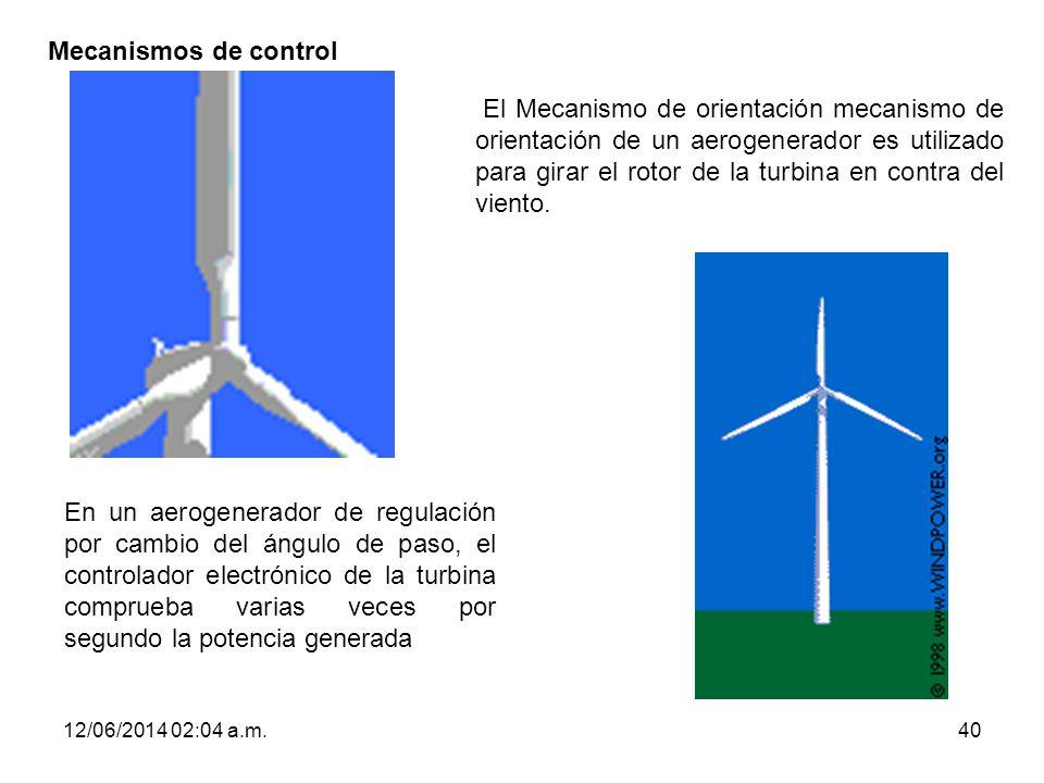 12/06/2014 02:06 a.m.40 Mecanismos de control El Mecanismo de orientación mecanismo de orientación de un aerogenerador es utilizado para girar el roto