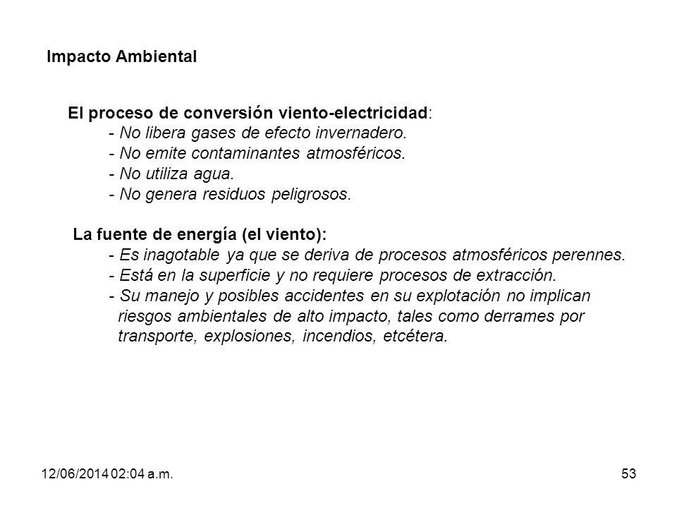 12/06/2014 02:06 a.m.53 Impacto Ambiental El proceso de conversión viento-electricidad: - No libera gases de efecto invernadero. - No emite contaminan