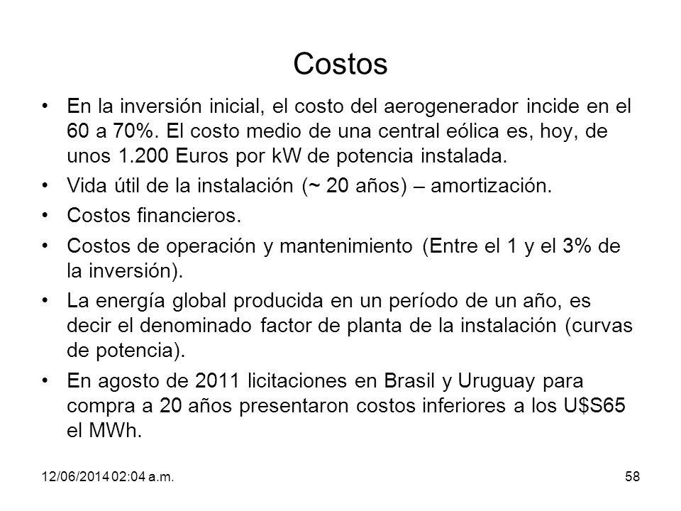 Costos En la inversión inicial, el costo del aerogenerador incide en el 60 a 70%. El costo medio de una central eólica es, hoy, de unos 1.200 Euros po