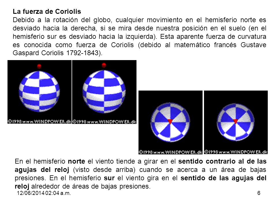 12/06/2014 02:06 a.m.6 La fuerza de Coriolis Debido a la rotación del globo, cualquier movimiento en el hemisferio norte es desviado hacia la derecha,