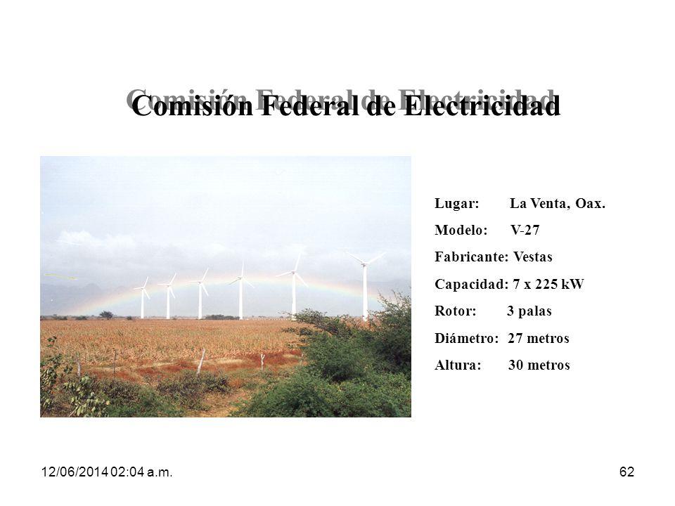 12/06/2014 02:06 a.m.62 Comisión Federal de Electricidad Lugar: La Venta, Oax. Modelo: V-27 Fabricante: Vestas Capacidad: 7 x 225 kW Rotor: 3 palas Di