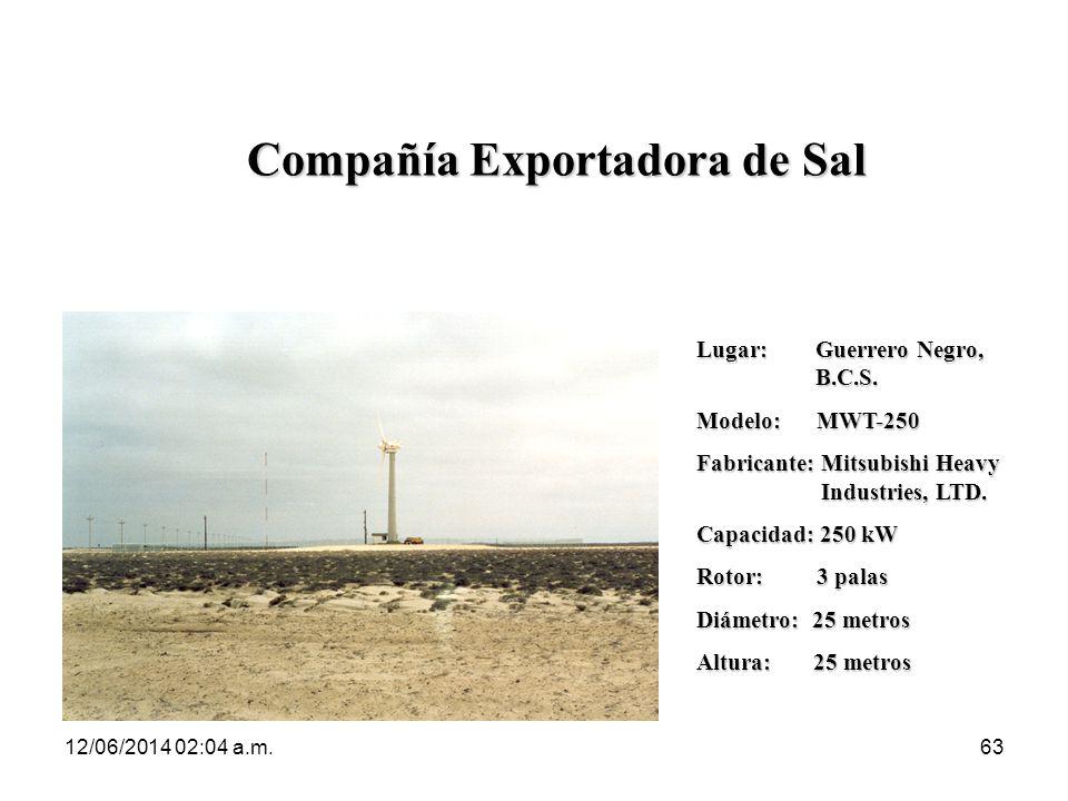 12/06/2014 02:06 a.m.63 Compañía Exportadora de Sal Lugar: Guerrero Negro, B.C.S. Modelo: MWT-250 Fabricante: Mitsubishi Heavy Industries, LTD. Capaci