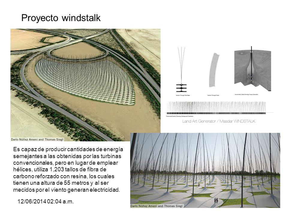 Proyecto windstalk 12/06/2014 02:06 a.m.67 Es capaz de producir cantidades de energía semejantes a las obtenidas por las turbinas convencionales, pero
