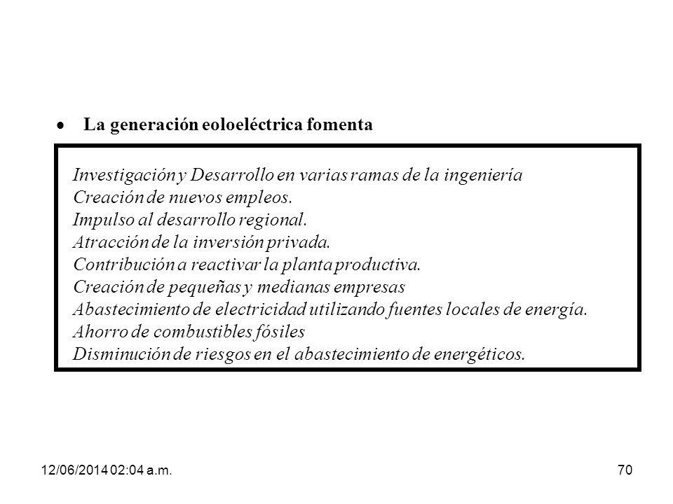 12/06/2014 02:06 a.m.70 Investigación y Desarrollo en varias ramas de la ingeniería Creación de nuevos empleos. Impulso al desarrollo regional. Atracc