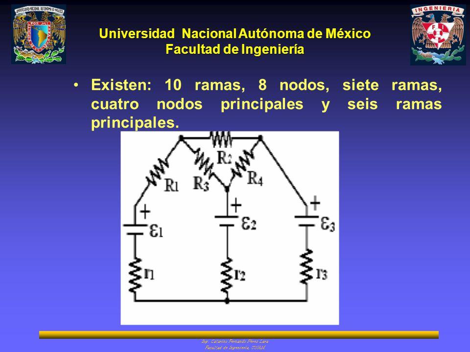 Universidad Nacional Autónoma de México Facultad de Ingeniería Ing. Catarino Fernando Pérez Lara Facultad de Ingeniería, UNAM Existen: 10 ramas, 8 nod
