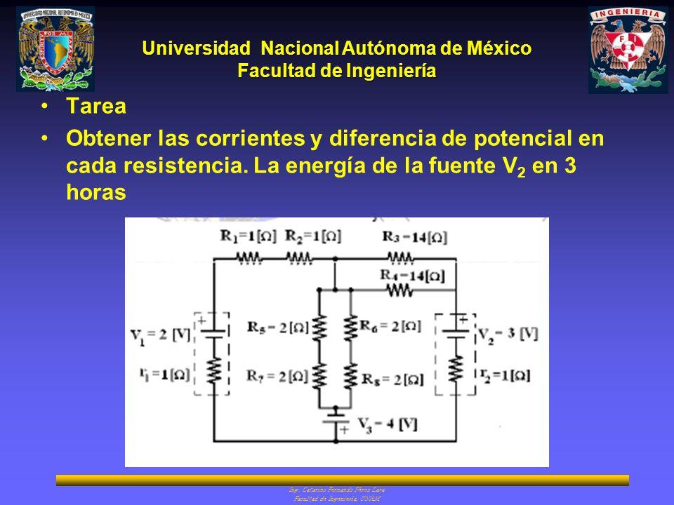 Universidad Nacional Autónoma de México Facultad de Ingeniería Ing. Catarino Fernando Pérez Lara Facultad de Ingeniería, UNAM Tarea Obtener las corrie