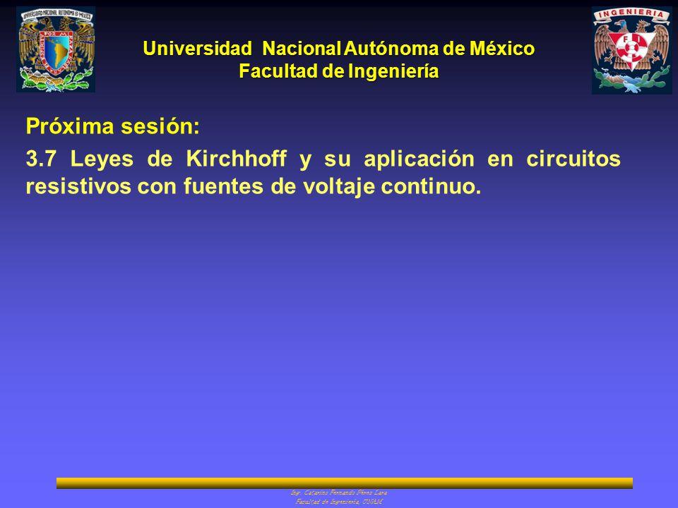 Universidad Nacional Autónoma de México Facultad de Ingeniería Ing. Catarino Fernando Pérez Lara Facultad de Ingeniería, UNAM Próxima sesión: 3.7 Leye
