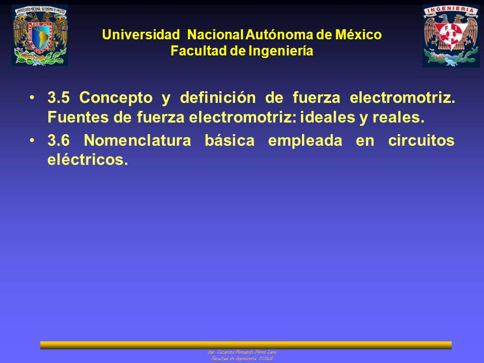 Universidad Nacional Autónoma de México Facultad de Ingeniería Ing. Catarino Fernando Pérez Lara Facultad de Ingeniería, UNAM 3.5 Concepto y definició