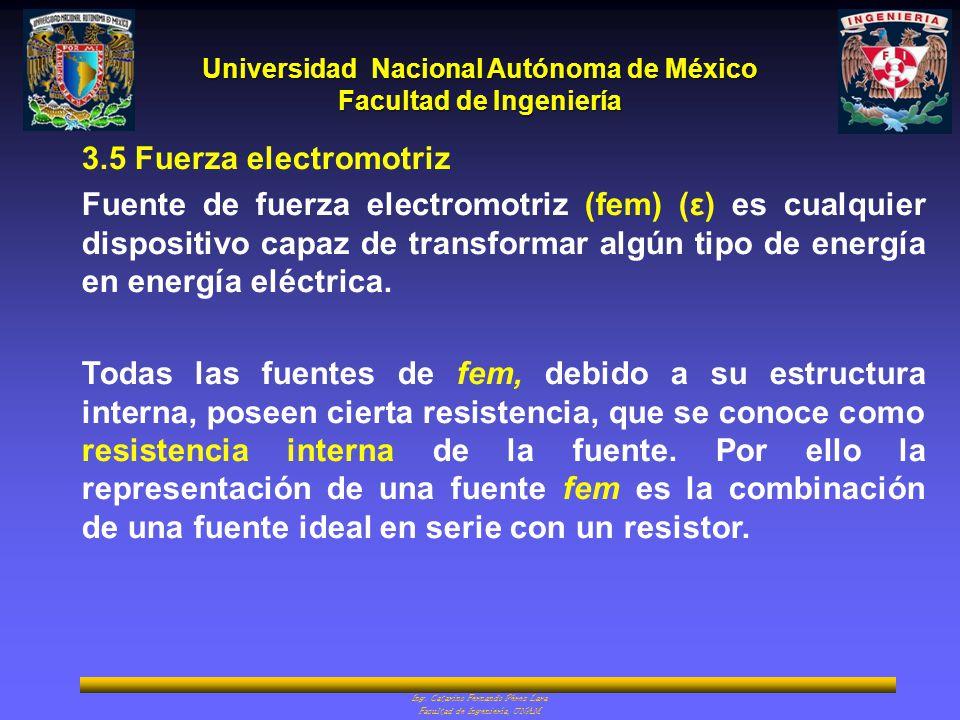 Universidad Nacional Autónoma de México Facultad de Ingeniería Ing. Catarino Fernando Pérez Lara Facultad de Ingeniería, UNAM 3.5 Fuerza electromotriz