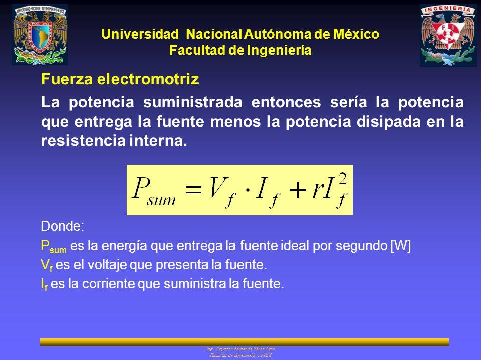 Universidad Nacional Autónoma de México Facultad de Ingeniería Ing. Catarino Fernando Pérez Lara Facultad de Ingeniería, UNAM Fuerza electromotriz La