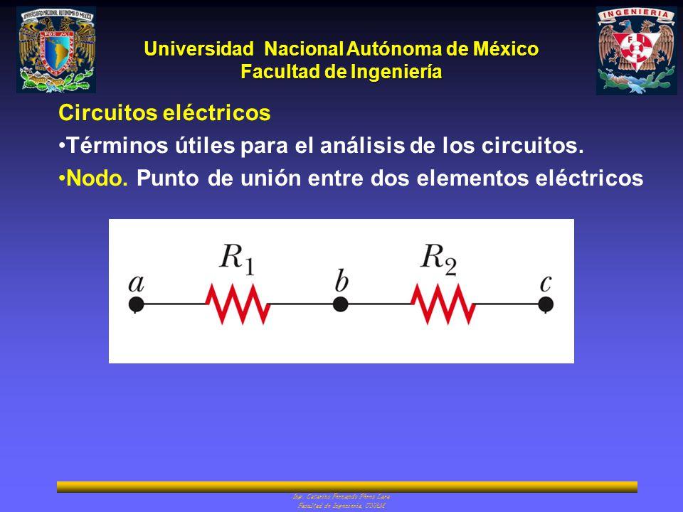 Universidad Nacional Autónoma de México Facultad de Ingeniería Ing. Catarino Fernando Pérez Lara Facultad de Ingeniería, UNAM Circuitos eléctricos Tér