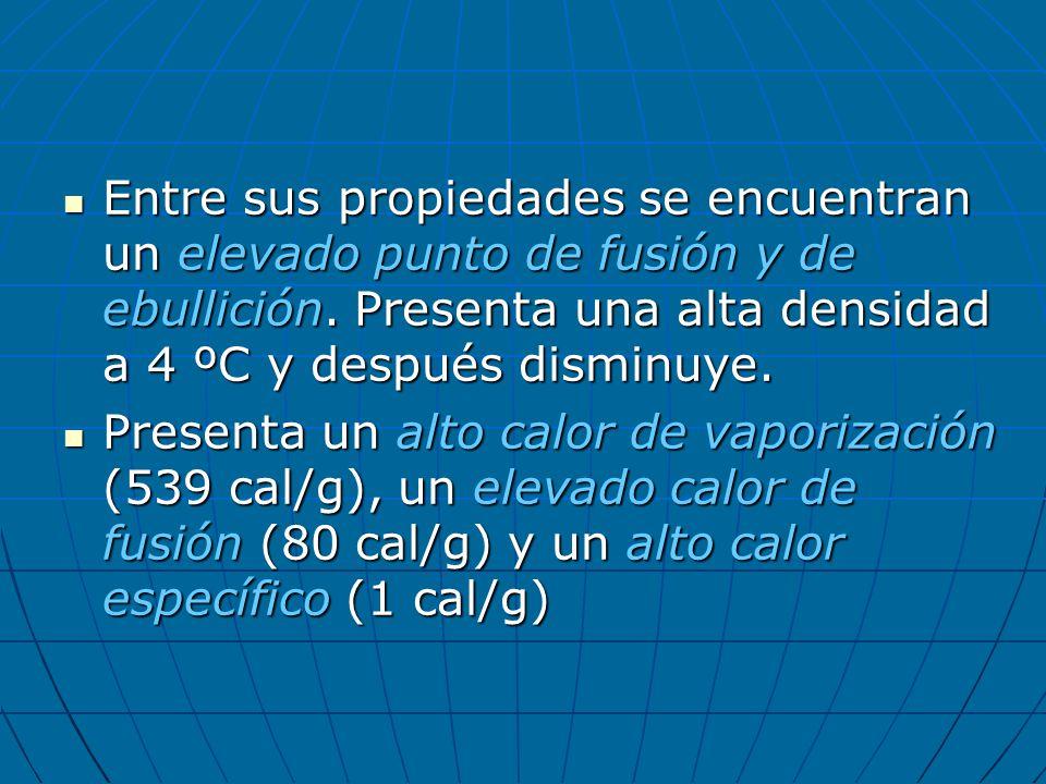 Entre sus propiedades se encuentran un elevado punto de fusión y de ebullición. Presenta una alta densidad a 4 ºC y después disminuye. Entre sus propi