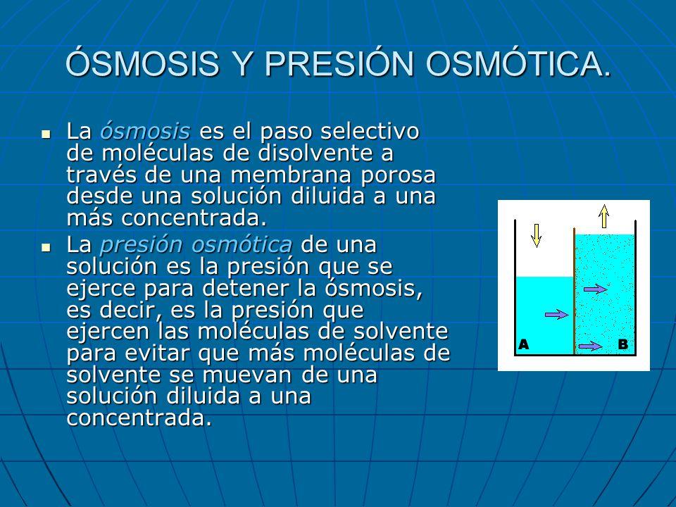 ÓSMOSIS Y PRESIÓN OSMÓTICA. La ósmosis es el paso selectivo de moléculas de disolvente a través de una membrana porosa desde una solución diluida a un