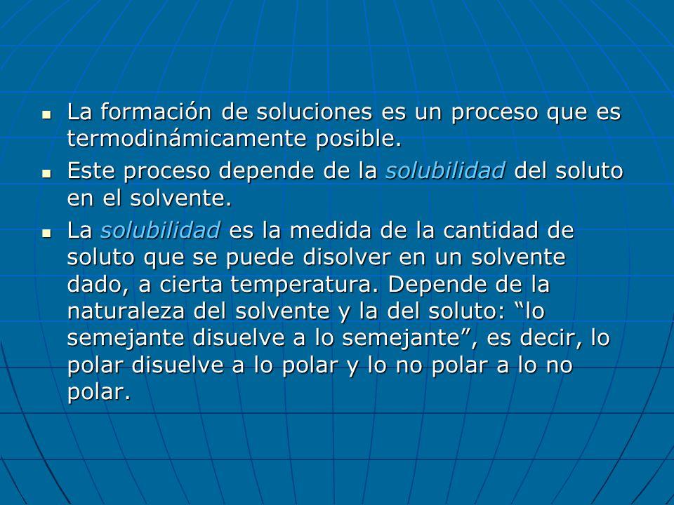 La formación de soluciones es un proceso que es termodinámicamente posible. La formación de soluciones es un proceso que es termodinámicamente posible