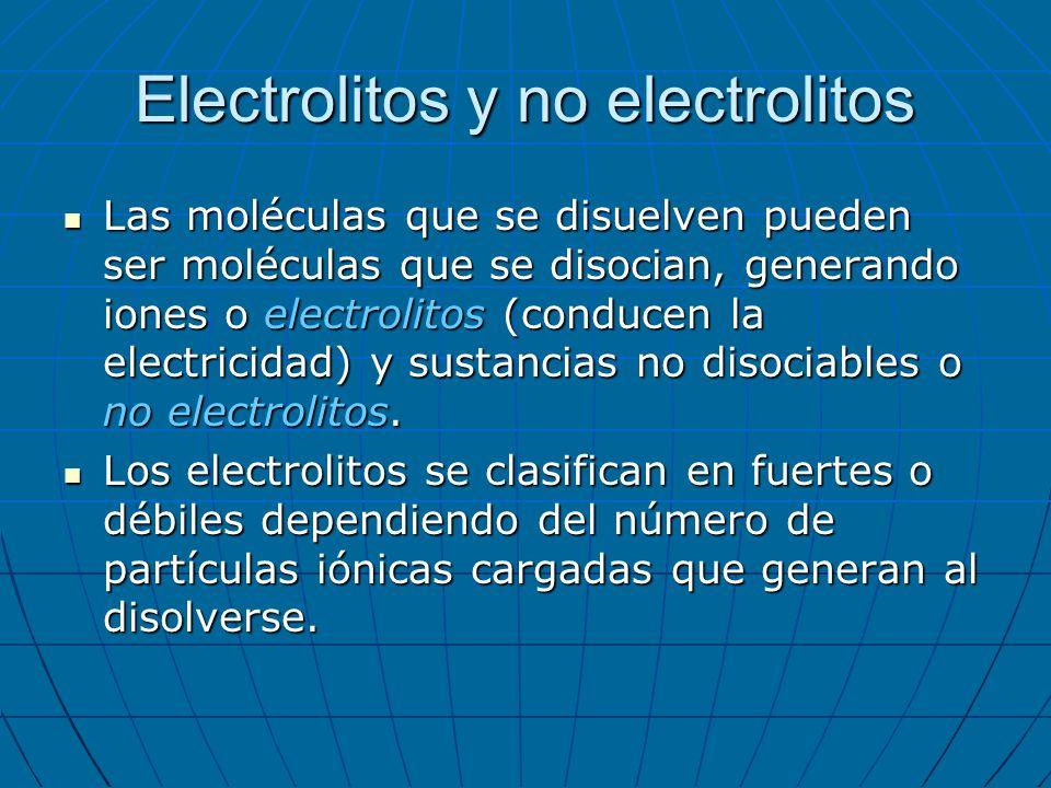 Electrolitos y no electrolitos Las moléculas que se disuelven pueden ser moléculas que se disocian, generando iones o electrolitos (conducen la electr