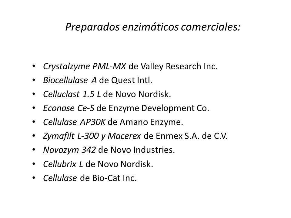 Preparados enzimáticos comerciales: Crystalzyme PML-MX de Valley Research Inc. Biocellulase A de Quest Intl. Celluclast 1.5 L de Novo Nordisk. Econase