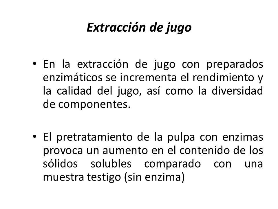Extracción de jugo En la extracción de jugo con preparados enzimáticos se incrementa el rendimiento y la calidad del jugo, así como la diversidad de c