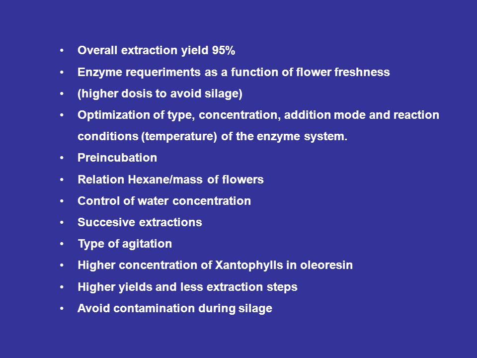 Overall extraction yield 95% Enzyme requeriments as a function of flower freshness (higher dosis to avoid silage) Optimization of type, concentration,