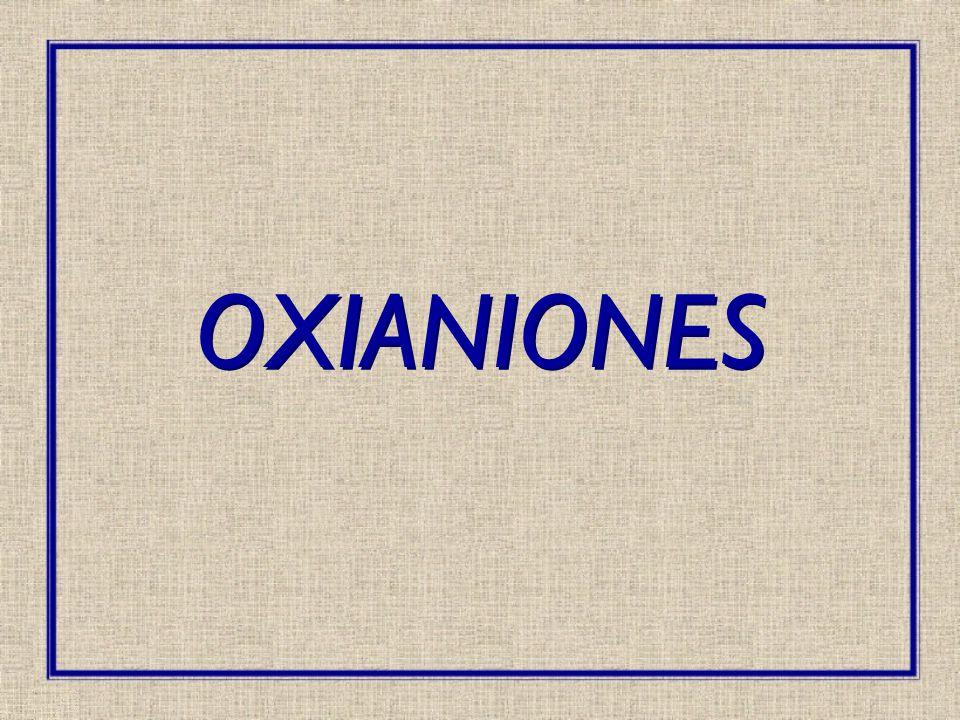 2.Una reacción de hidratación que también convierte los átomos de oxígeno en OH -, pero con un aumento en el número de coordinación del átomo central: SnO 2 2- + 2H 2 O Sn(OH) 4 2- ZnO 2 2- + 2H 2 O Zn(OH) 4 2- Los dos tipos de reacciones pueden presentarse simultaneamente como en: SbO 4 3- + 4H 2 O Sb(OH) 6 - + 2OH - Comportamiento De Oxianiones En Solución Acuosa