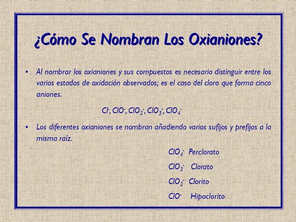 Al nombrar los oxianiones y sus compuestos es necesario distinguir entre los varios estados de oxidación observados; es el caso del cloro que forma ci