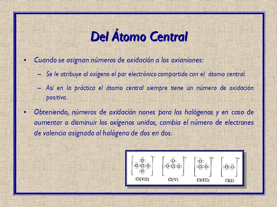 Del Átomo Central Cuando se asignan números de oxidación a los oxianiones: –Se le atribuye al oxígeno el par electrónico compartido con el átomo centr
