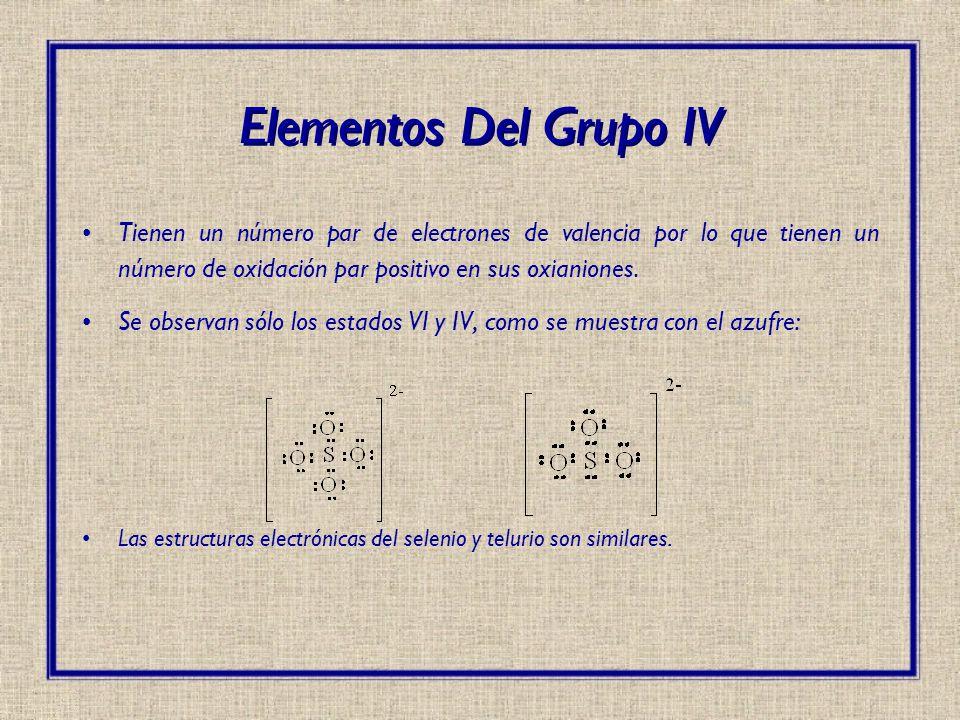 Tienen un número par de electrones de valencia por lo que tienen un número de oxidación par positivo en sus oxianiones. Se observan sólo los estados V