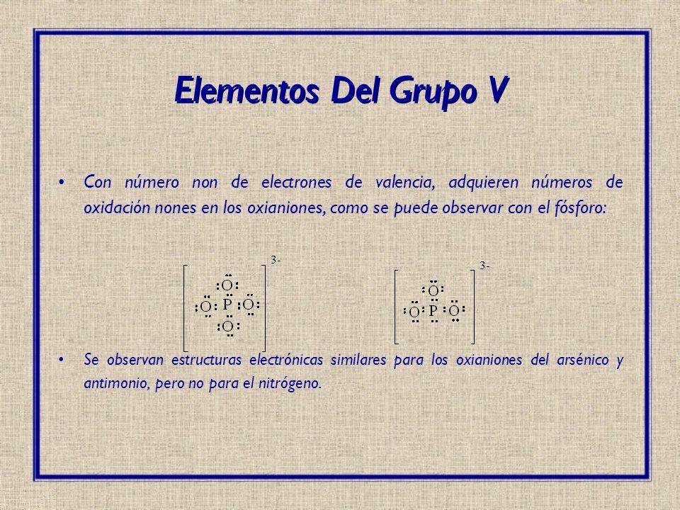 Con número non de electrones de valencia, adquieren números de oxidación nones en los oxianiones, como se puede observar con el fósforo: Se observan e