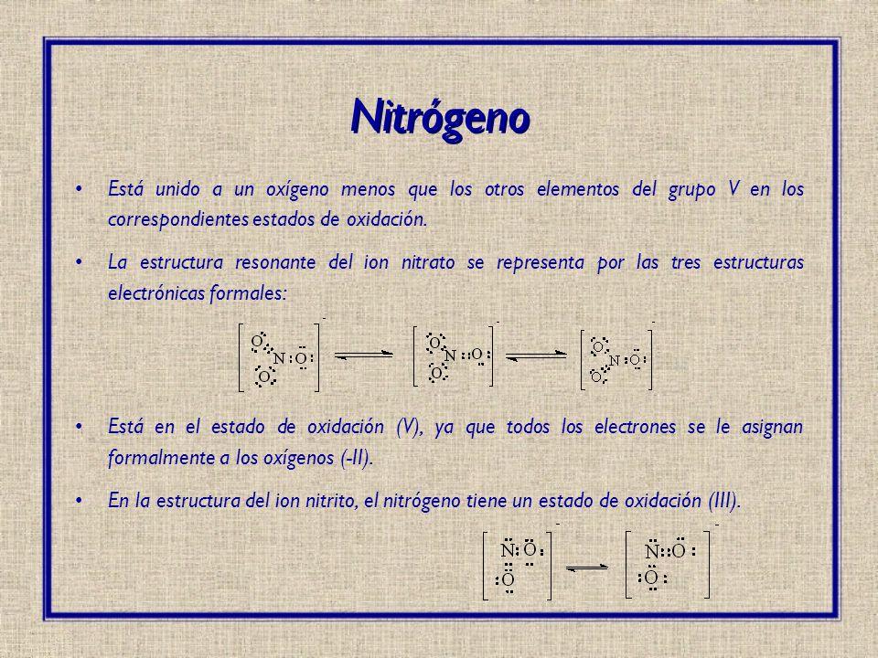 Está unido a un oxígeno menos que los otros elementos del grupo V en los correspondientes estados de oxidación. La estructura resonante del ion nitrat