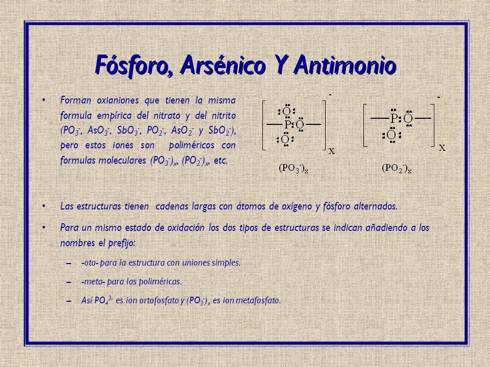 Fósforo, Arsénico Y Antimonio Forman oxianiones que tienen la misma formula empírica del nitrato y del nitrito (PO 3 -, AsO 3 -, SbO 3 -, PO 2 -, AsO