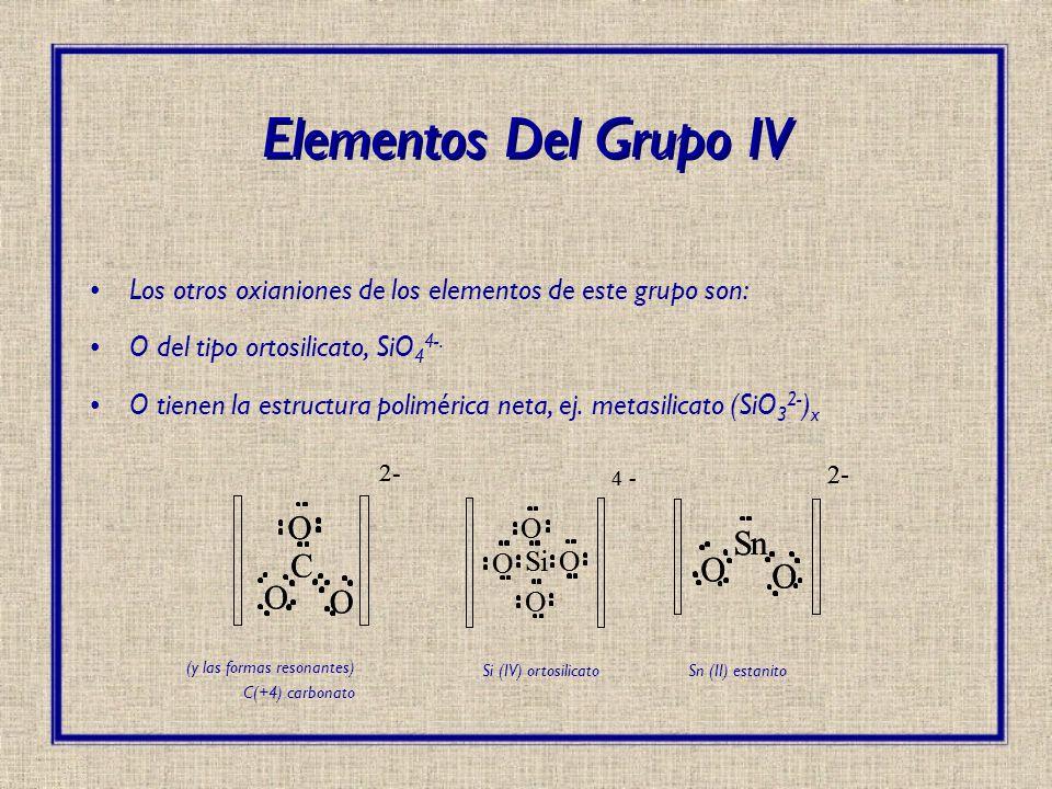 Los otros oxianiones de los elementos de este grupo son: O del tipo ortosilicato, SiO 4 4-. O tienen la estructura polimérica neta, ej. metasilicato (