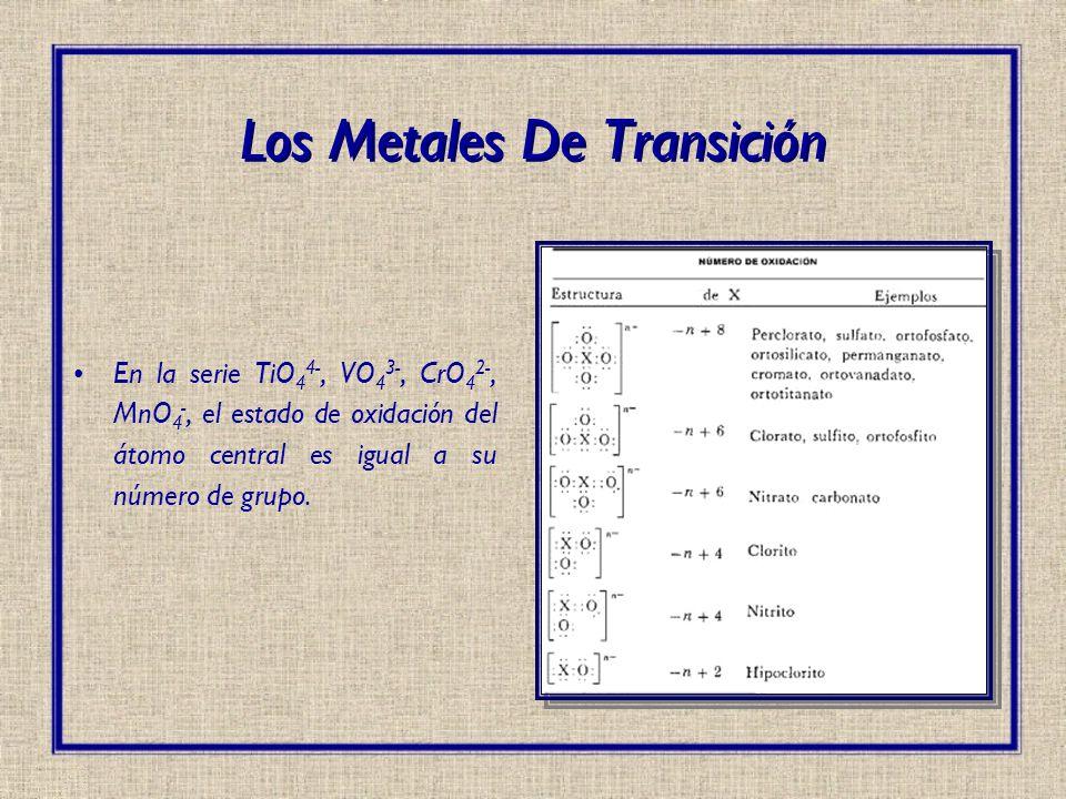 En la serie TiO 4 4-, VO 4 3-, CrO 4 2-, MnO 4 -, el estado de oxidación del átomo central es igual a su número de grupo. Los Metales De Transición