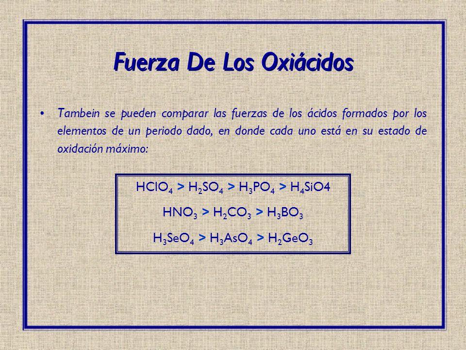 Tambein se pueden comparar las fuerzas de los ácidos formados por los elementos de un periodo dado, en donde cada uno está en su estado de oxidación m