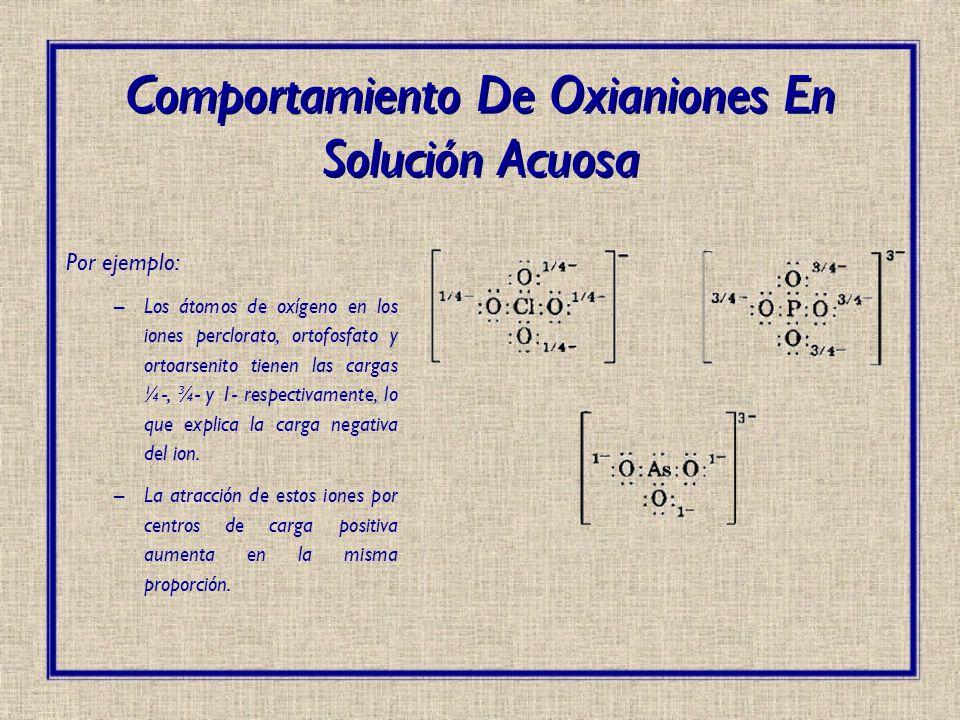 Por ejemplo: –Los átomos de oxígeno en los iones perclorato, ortofosfato y ortoarsenito tienen las cargas ¼-, ¾- y 1- respectivamente, lo que explica