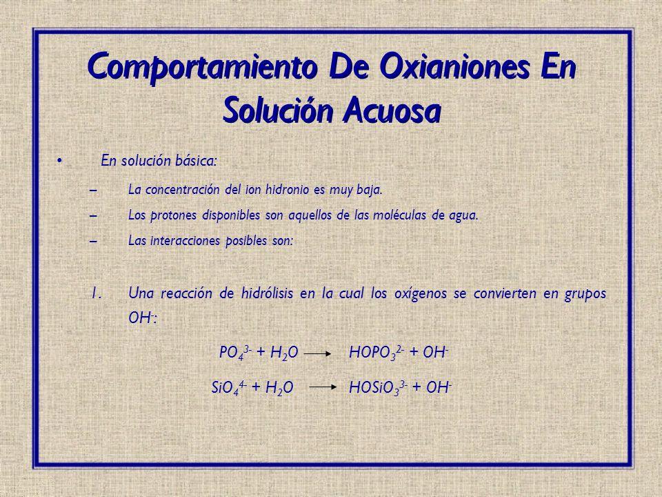 En solución básica: –La concentración del ion hidronio es muy baja. –Los protones disponibles son aquellos de las moléculas de agua. –Las interaccione
