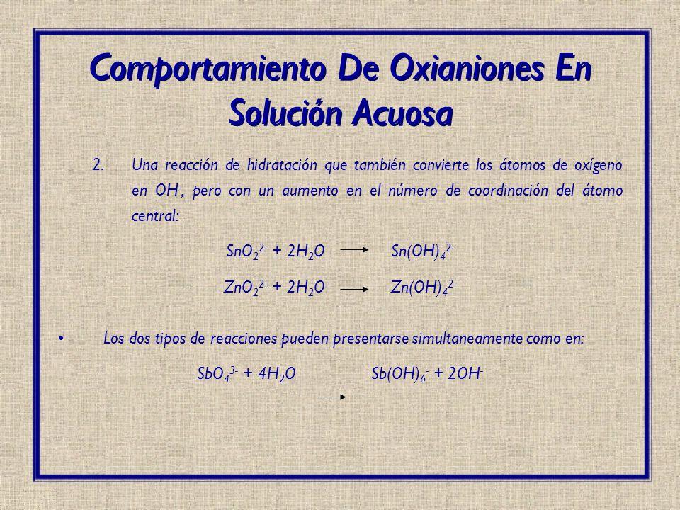 2.Una reacción de hidratación que también convierte los átomos de oxígeno en OH -, pero con un aumento en el número de coordinación del átomo central: