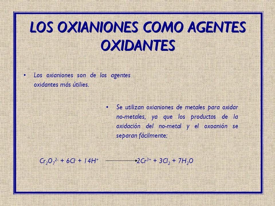 Cr 2 O 7 2- + 6Cl - + 14H + 2Cr 3+ + 3Cl 2 + 7H 2 O LOS OXIANIONES COMO AGENTES OXIDANTES Los oxianiones son de los agentes oxidantes más útilies. Se