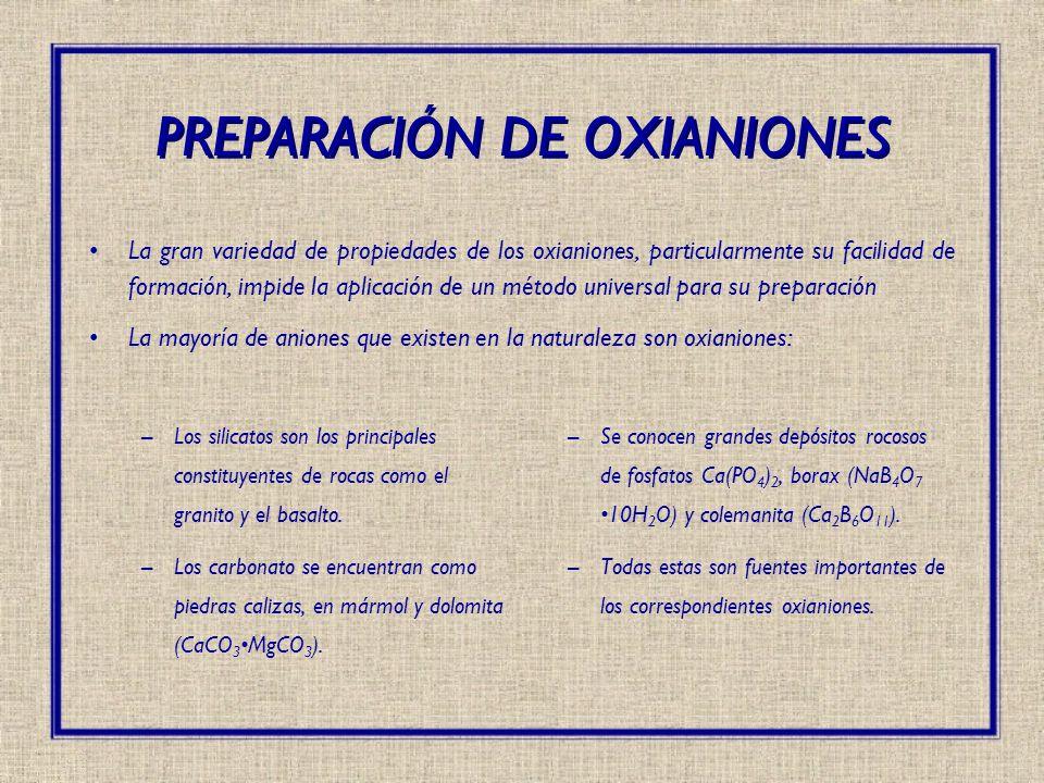 La gran variedad de propiedades de los oxianiones, particularmente su facilidad de formación, impide la aplicación de un método universal para su prep