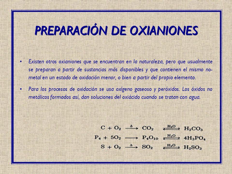 Existen otros oxianiones que se encuentran en la naturaleza, pero que usualmente se preparan a partir de sustancias más disponibles y que contienen el