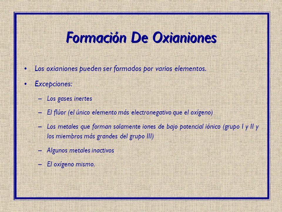 Formación De Oxianiones Los oxianiones pueden ser formados por varios elementos. Excepciones: –Los gases inertes –El flúor (el único elemento más elec