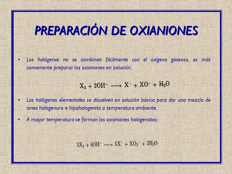 Los halógenos no se combinan fácilmente con el oxígeno gaseoso, es más conveniente preparar los oxianiones en solución. Los halógenos elementales se d
