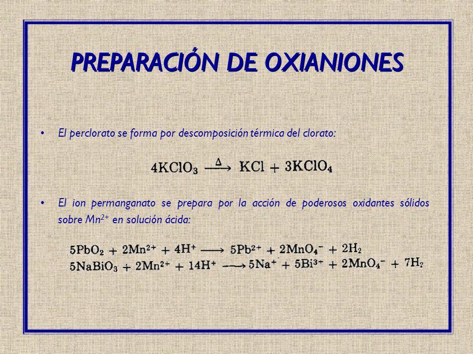 El perclorato se forma por descomposición térmica del clorato: El ion permanganato se prepara por la acción de poderosos oxidantes sólidos sobre Mn 2+