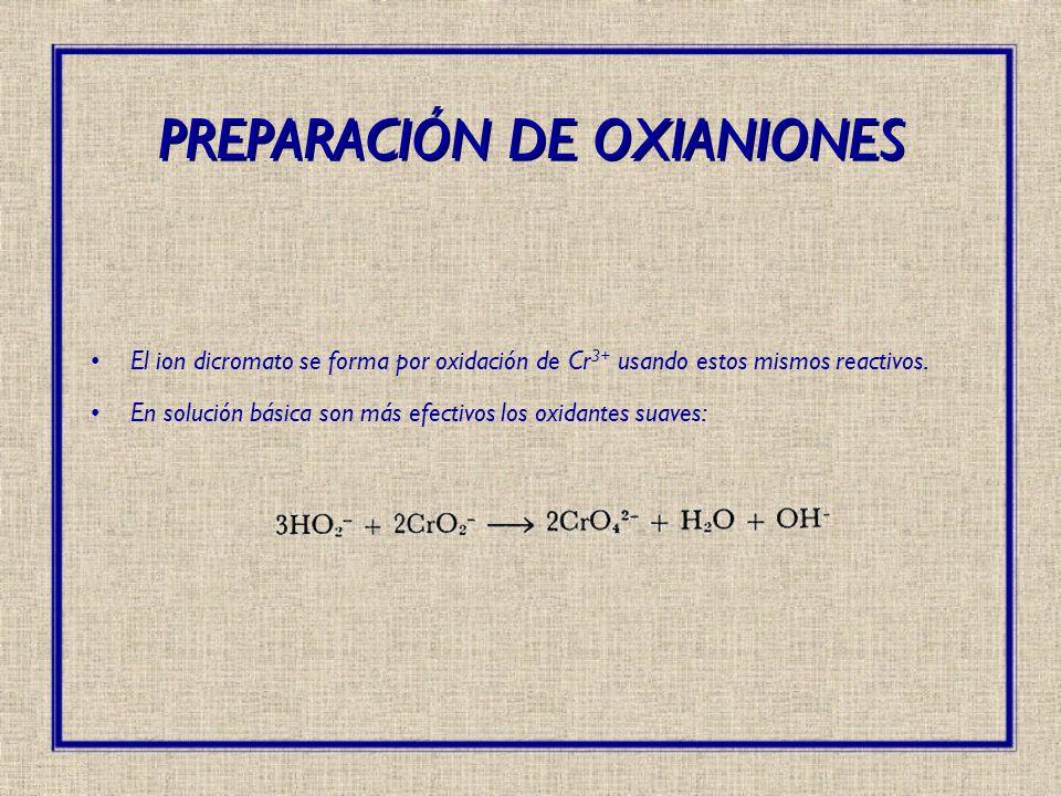 El ion dicromato se forma por oxidación de Cr 3+ usando estos mismos reactivos. En solución básica son más efectivos los oxidantes suaves: PREPARACIÓN