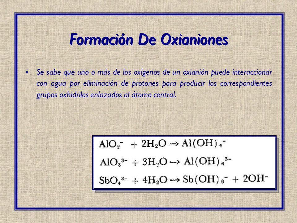 Comportamiento De Oxianiones En Solución Acuosa Los oxianiones interaccionan de manera diferente con moléculas de agua, iones H + y OH -, dependiendo de: –El tamaño.