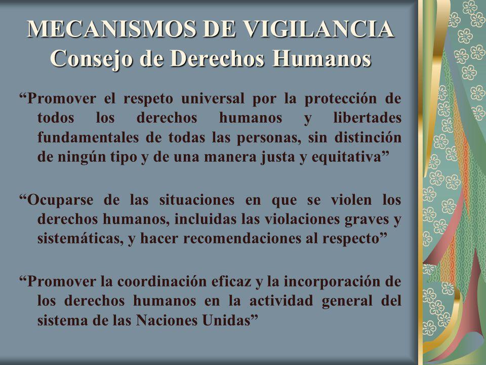 MECANISMOS DE VIGILANCIA Consejo de Derechos Humanos Promover el respeto universal por la protección de todos los derechos humanos y libertades fundam