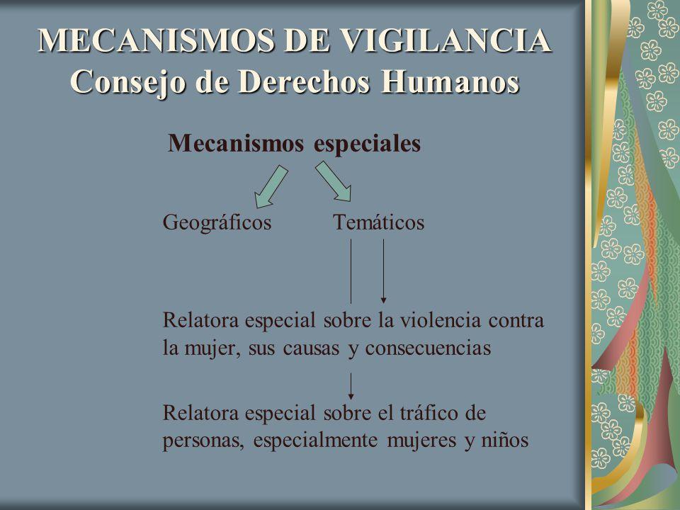 MECANISMOS DE VIGILANCIA Consejo de Derechos Humanos Mecanismos especiales Geográficos Temáticos Relatora especial sobre la violencia contra la mujer,