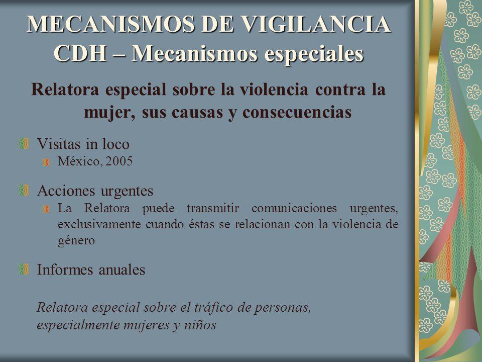 MECANISMOS DE VIGILANCIA CDH – Mecanismos especiales Relatora especial sobre la violencia contra la mujer, sus causas y consecuencias Visitas in loco