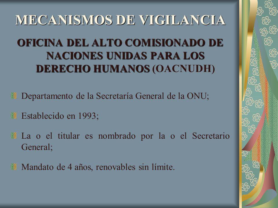 MECANISMOS DE VIGILANCIA OFICINA DEL ALTO COMISIONADO DE NACIONES UNIDAS PARA LOS DERECHO HUMANOS OFICINA DEL ALTO COMISIONADO DE NACIONES UNIDAS PARA